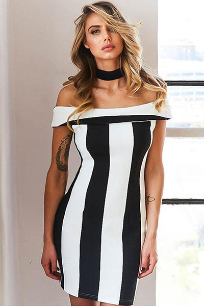 Office Striped Pencil Strapless Dress