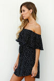 Women Off Shoulder Sleeveless Dots loose strapless Party Dress