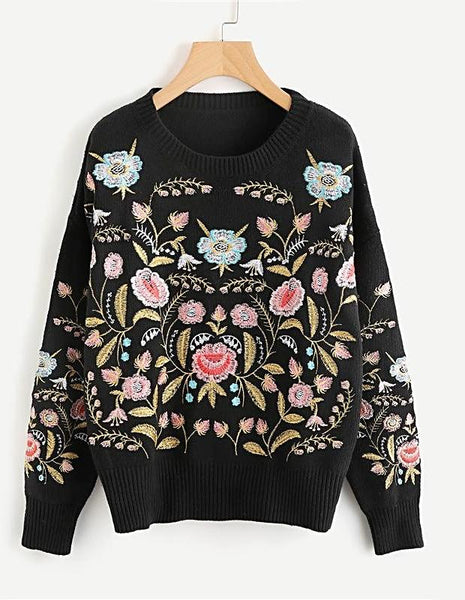 Symmetric Botanical Embroidered Jumper Pullovers