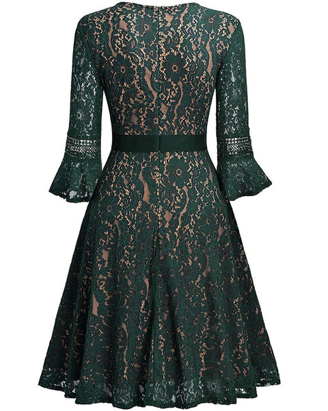 Lace Floral Vintage Ethnic Party Hollow Knee Length Dress