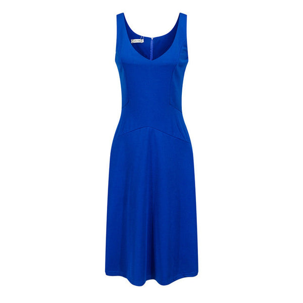 Women Elegant V-Neck Sleeveless Slim Evening Party Dress
