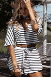 Women Fashion Striped Sexy V-Neck Loose Beach Two Pieces Set Short Suit