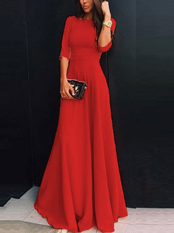 products/red-plain-draped-round-neck-three-quarter-length-sleeve-elegant-maxi-dress.jpg