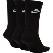 Nike Essential Crew Socks- black with white, 3 Pairs