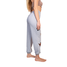 GG butterfly sweatpants in grey - side view