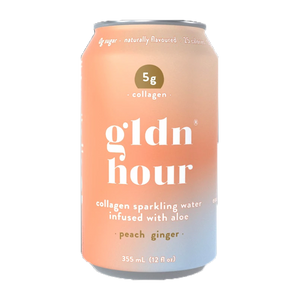 gldn hour sparkling collagen water peach ginger at Good Goddess