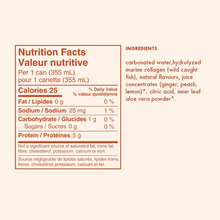 gldn hour sparkling collagen water peach ginger nutrition facts and ingredients
