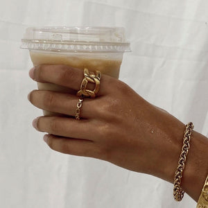 Ellie Vail Billy Dainty Chain Link Ring on Model 2