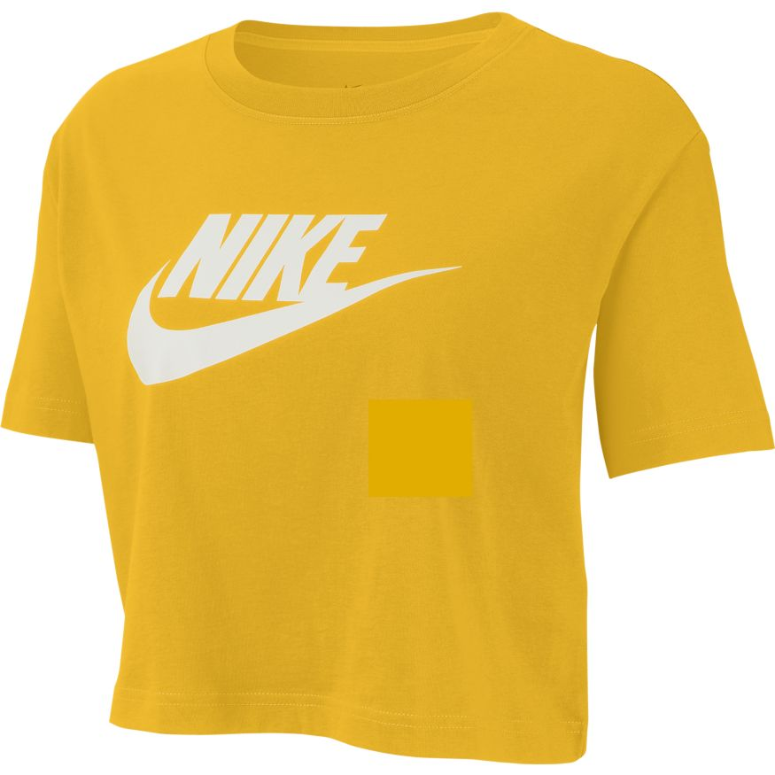 Nike Sportswear Essential Women's Cropped T-Shirt- dark sulfur/white