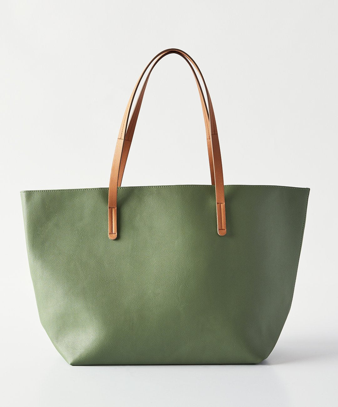 6a2035e62511 Vegan Leather Tote, Army Green