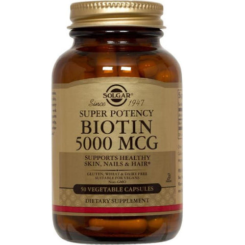 Solgar Super Potency Biotin 5000mcg 50 Vegetable Capsules, Supplement, Solgar - kindgrocer