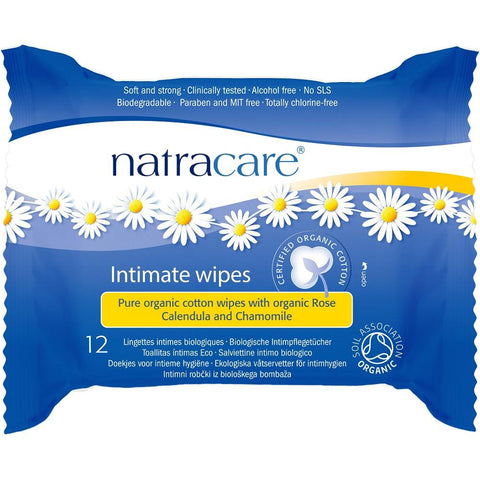Natracare Pure Organic Cotton Intimate Wipes Organic Rose, Calendula & Chamomile 12pcs, Intimate Wipes, Natracare - kindgrocer