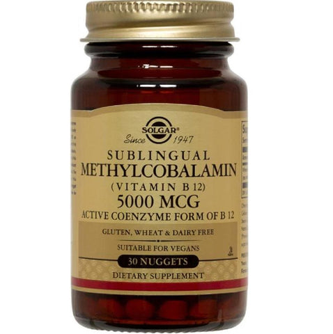 Solgar Sublingual Methylcobalamin (Vitamin B12) 5000mcg 60 Nuggets, Supplement, Solgar - kindgrocer
