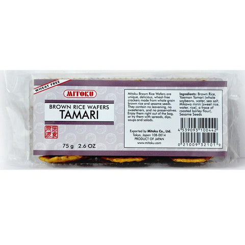 Mitoku Brown Rice Wafers - Tamari 75g, Snack, Mitoku - kindgrocer