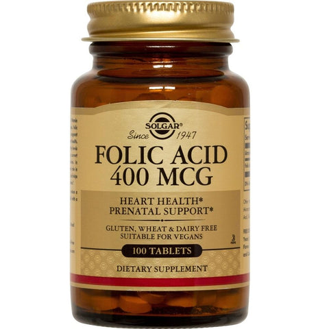 Solgar Folic Acid 400mcg 100 Tablets, Supplement, Solgar - kindgrocer