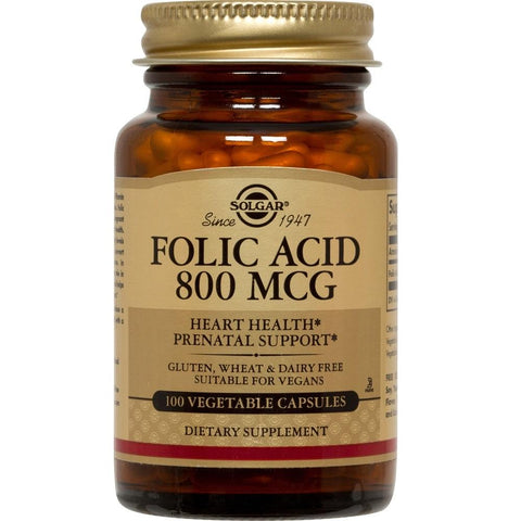 Solgar Folic Acid 800mcg 100 Vegetable Capsules, Supplement, Solgar - kindgrocer