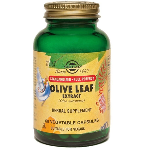 Solgar Standardized Full Potency Olive Leaf Extract 60 Vegetable Capsules, Supplement, Solgar - kindgrocer