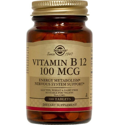 Solgar Vitamin B12 100mcg 100 Tablets, Supplement, Solgar - kindgrocer