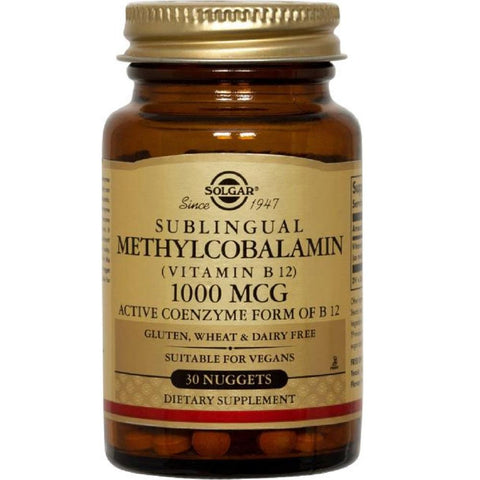 Solgar Sublingual Methylcobalamin (Vitamin B12) 1000mcg 60 Nuggets, Supplement, Solgar - kindgrocer