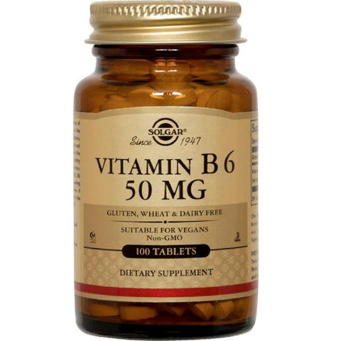 Solgar Vitamin B6 50mg 100 Tablets, Supplement, Solgar - kindgrocer