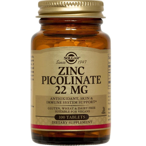 Solgar Zinc Picolinate 22mg 100 Tablets, Supplement, Solgar - kindgrocer