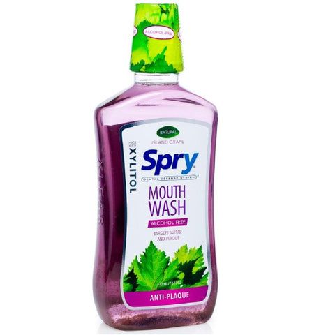 Spry Alcohol-Free Mouth Wash with Xylitol - Island Grape/Anti-Plaque 473ml, Mouth Wash, Xlear - kindgrocer