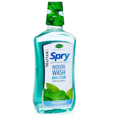 Spry Alcohol-Free Mouth Wash with Xylitol - Mountain Mint/Fresh Breath 473ml, Mouth Wash, Xlear - kindgrocer
