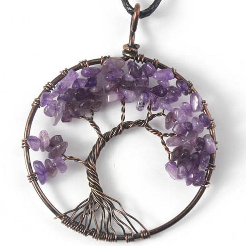 Natural Amethysts Tree of Life Necklace