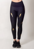 Stylish Black Leggings with Gold Lightning Bolts