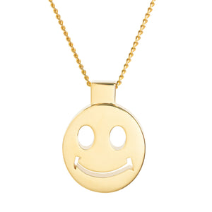 Pendant - Happy Face - Gold-plated Brass