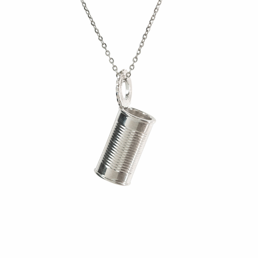 Pendant - Tin Can - Polished Silver