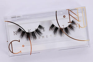 Wispy silk eyelash with clear band for small or hooded eye shapes
