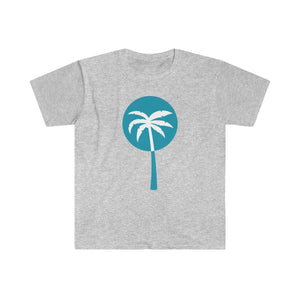 Light Blue Inverted Palm Tree Graphic T-Shirt