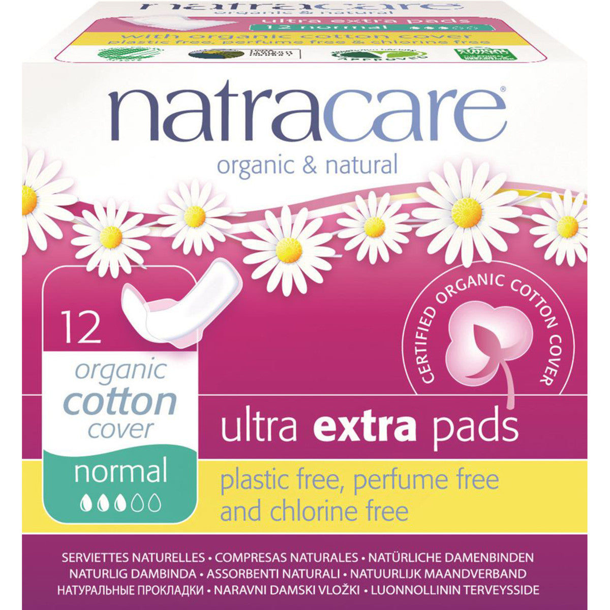 Natracare Ultra Extra Pads Normal with Organic Cotton Cover x12 Pack