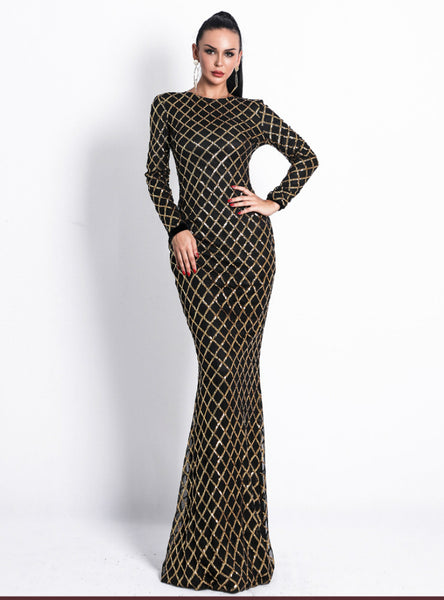 Long Sleeve Plaid Round Neck Dress Evening Sequined Dress