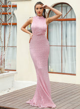 Women's Sequined Evening Dress With Openwork Party Dress