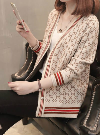 Womens V-Neck Long Sleeve Fashionable Printed Knitwear
