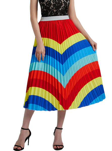 Colored Waves High Waist A-line Skirt