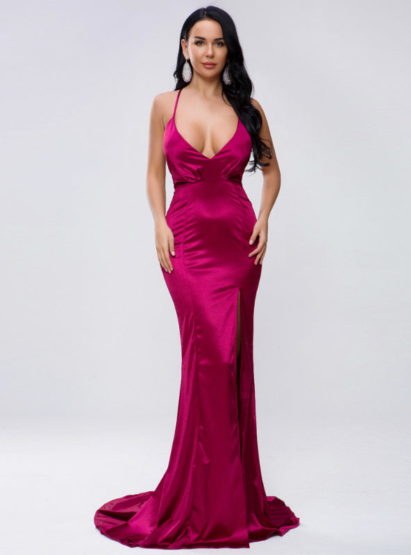 Sexy V-neck Solid Color Sling Backless Prom Dress