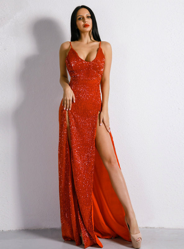 Sexy V-neck Backless Summer Sequined Dress