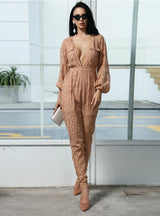 Deep V-neck Long Sleeve Button Lace Stitching Jumpsuit