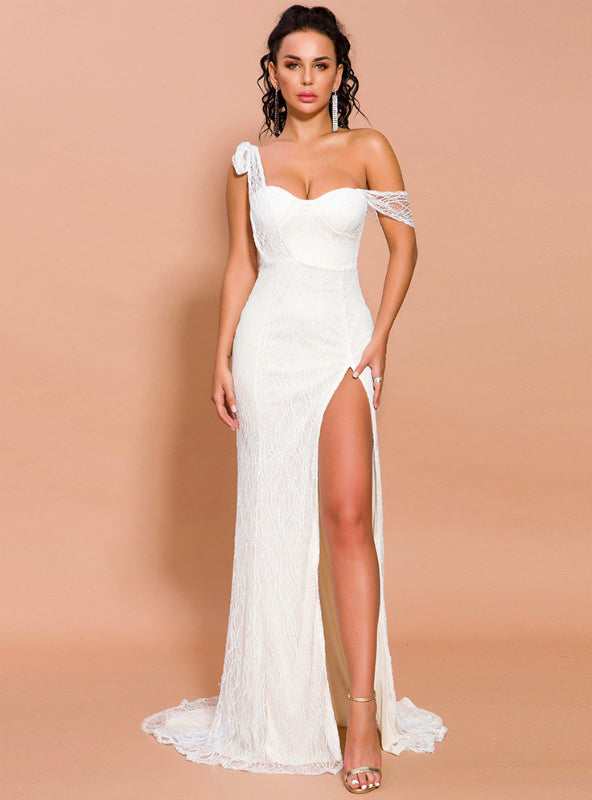 Women Sexy White Lace Party Dress With Split