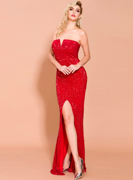 Sexy Strapless Sequined Dress Female Split Dress