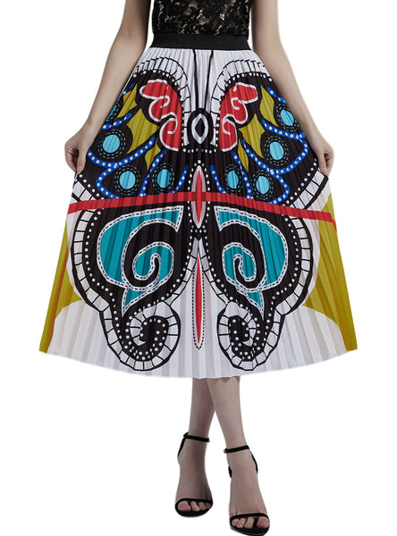 Butterfly Graffiti Pleated Skirt Printed