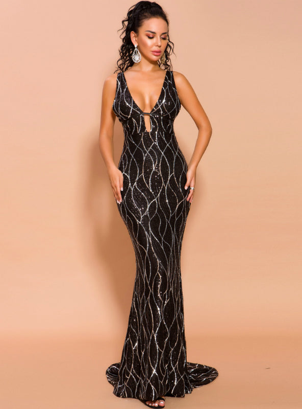Black Sexy V-neck Sling Banquet Long Sequined Dress