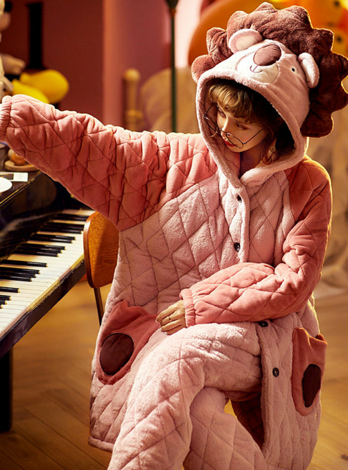 Pink Lion Three-layer Thickened Warm Coral Fleece Two-piece Suit