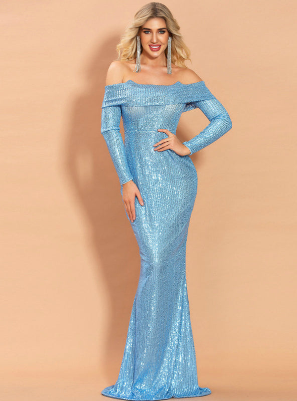 Off Shoulder Tube Top Long Sleeve Sequined Party Dress