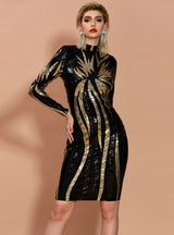 Long Sleeve Round Neck Geometric Sequins Dress