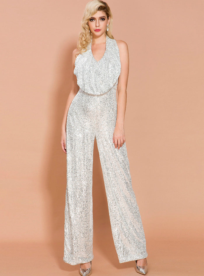 Sleeveless Sequined Jumpsuit Straight Trousers