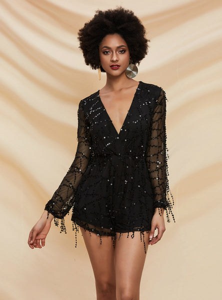 Sexy V-neck Tassel Sequined Long-sleeved Jumpsuit